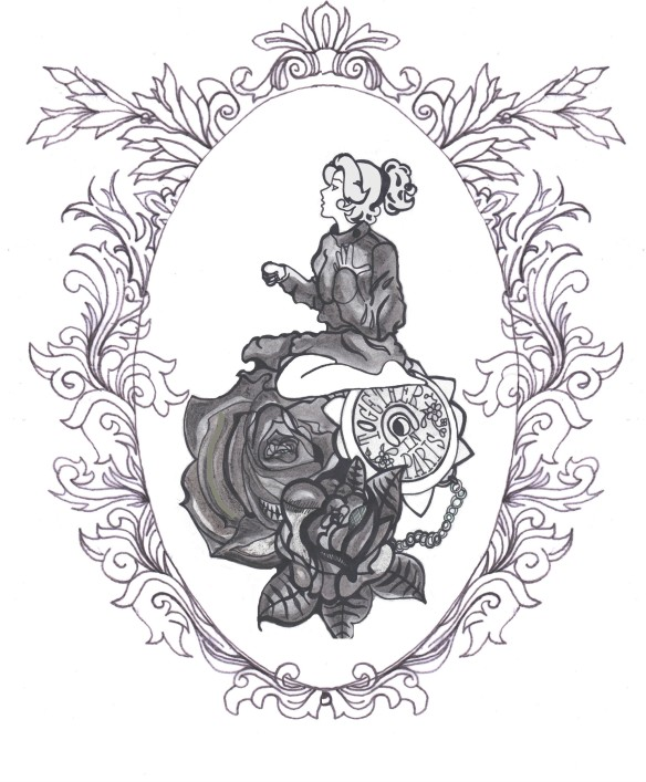 tattoo design framed illustration black white anastasia rose paris girl girl with a. Black Bedroom Furniture Sets. Home Design Ideas